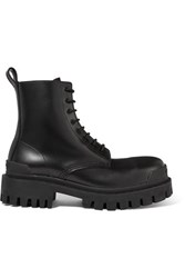 Balenciaga Strike Leather Ankle Boots Black
