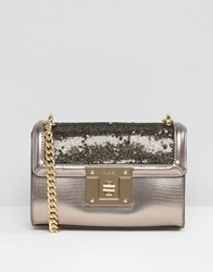 Aldo Pewter And Sequined Cross Body Bag Grey