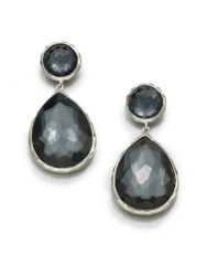 Ippolita Wonderland Hematite Clear Quartz And Sterling Silver Teardrop Snowman Doublet Post Earrings Silver Grey