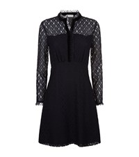 Sandro Sheer Panelled Lace Dress Blue
