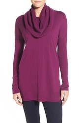 Petite Women's Caslon Side Slit Cowl Neck Tunic Purple Dark