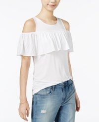 Maison Jules Cold Shoulder Flounce Top Only At Macy's Bright White