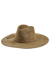 Emilio Pucci Suede Fedora With Leather Trim Green