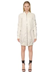 Rick Owens Drkshdw Cotton Poplin Long Bomber Jacket