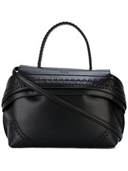 Tod's Wave Tote Women Calf Leather One Size Black