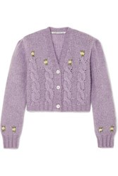 Alessandra Rich Cropped Embroidered Cable Knit Alpaca Blend Cardigan Lilac