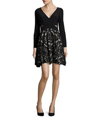 Xscape Evenings Long Sleeve Fit And Flare Dress Black Stone