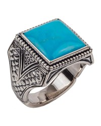 Konstantino Men's Sterling Silver And Turquoise Signet Ring