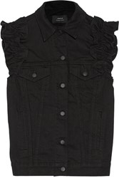 J Brand Simone Rocha Ruffled Denim Vest Black