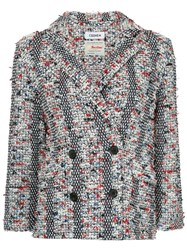 Coohem Double Breasted Tweed Blazer Multicolour