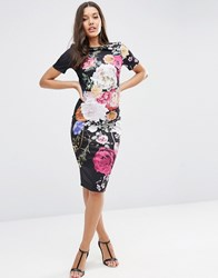 Asos Placed Floral Print T Shirt Dress Dark Floral Multi