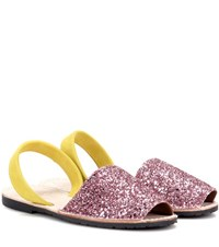 Del Rio London Glitter And Suede Sandals Pink