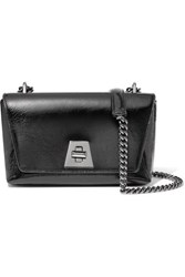 Akris Anouk Small Day Textured Patent Leather Shoulder Bag Black