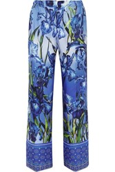 F.R.S For Restless Sleepers Etrere Printed Silk Twill Straight Leg Pants Blue