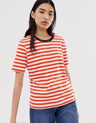 Selected Femme Stripe T Shirt With Contrast Neck Multi