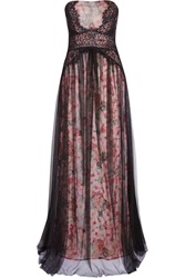 Marchesa Notte Floral Print Lace And Tulle Gown Purple