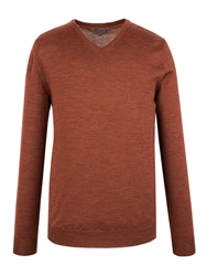 Alexandre Savile Row Plain V Neck Pull Over Jumper Rust