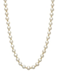 Belle De Mer Cultured Freshwater Pearl 7 1 2Mm And Bead Necklace In 14K Gold