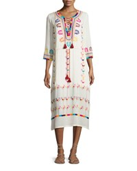 Figue Embroidered 3 4 Sleeve Midi Dress Ivory