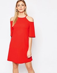 New Look Cold Shoulder Swing Dress Bright Red