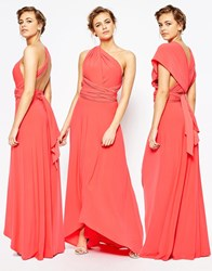 Coast Corwin V Neck Maxi Dress In Coral Coral Orange