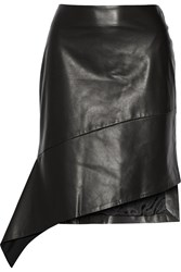 Reed Krakoff Asymmetric Leather Skirt Black