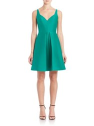 Halston Cotton And Silk Structured Fit And Flare Dress Emerald