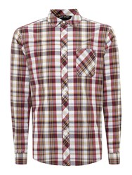 Army And Navy Pitsford Check Long Sleeved Shirt Burgundy