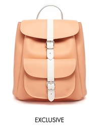 Grafea Exclusive Leather Backpack In Peach With White Contrast Strap Peachwhite