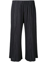 Issey Miyake Pleats Please By Pleated Cropped Trousers Women Polyester 2 Blue