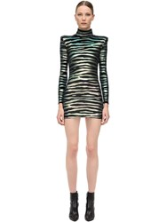 Faith Connexion Zebra Print Lurex Velvet Mini Dress Black