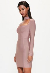 Missguided Pink Choker Neck Bandage Bodycon Dress Mauve