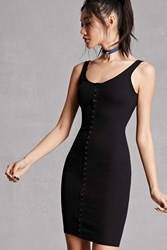 Forever 21 Snap Button Front Bodycon Dress Black