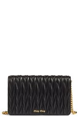 Miu Miu Women's Matelasse Wallet On A Chain Black