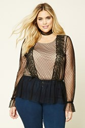 Forever 21 Plus Size Ruffled Mesh Top Black Nude