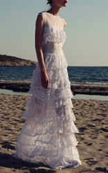 Costarellos Floral Illusion Gown White