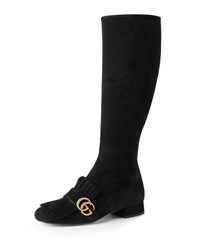 Gucci Marmont Tall Suede Kiltie Boot Black