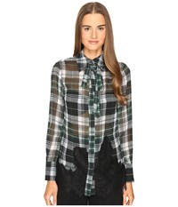 Mcq By Alexander Mcqueen Fluid Shirt Green Tartan Women's Long Sleeve Button Up