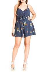 City Chic Plus Size Strappy Floral Romper Spot The Floral