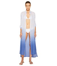 Letarte Long Ombre Beachshirt Bleached Denim Women's Swimwear Blue