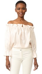 Temperley London Tempest Off Shoulder Blouse Powder