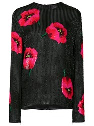 Ashish Sequinned Poppy Detail Top Black