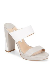Diane Von Furstenberg Bruges Colorblock Leather Slide Sandals Taupe White