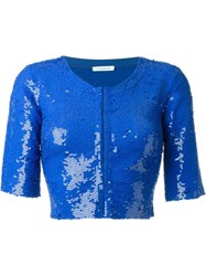 P.A.R.O.S.H. Sequin Bolero Jacket Blue