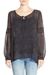Junior Women's Sun And Shadow Boho Blouse Black Pretty Patchwork