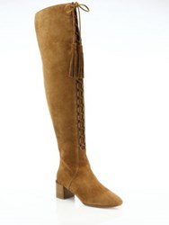 Michael Kors Harris Lace Up Suede Over The Knee Boots Luggage