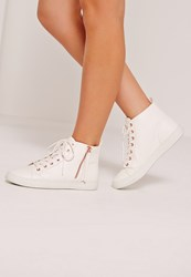 Missguided White Contrast Zip High Top Trainers