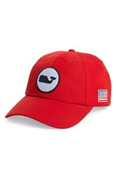 Vineyard Vines Men's Perf Classic Woven Whale Ball Cap Red Nautical Red
