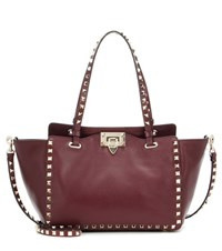 Valentino Rockstud Leather Tote Red