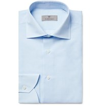 Canali Light Blue Cutaway Collar Slub Cotton And Linen Blend Shirt Light Blue